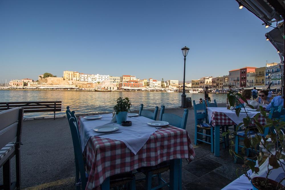 Chania, Kréta - večera v taverne v prístave