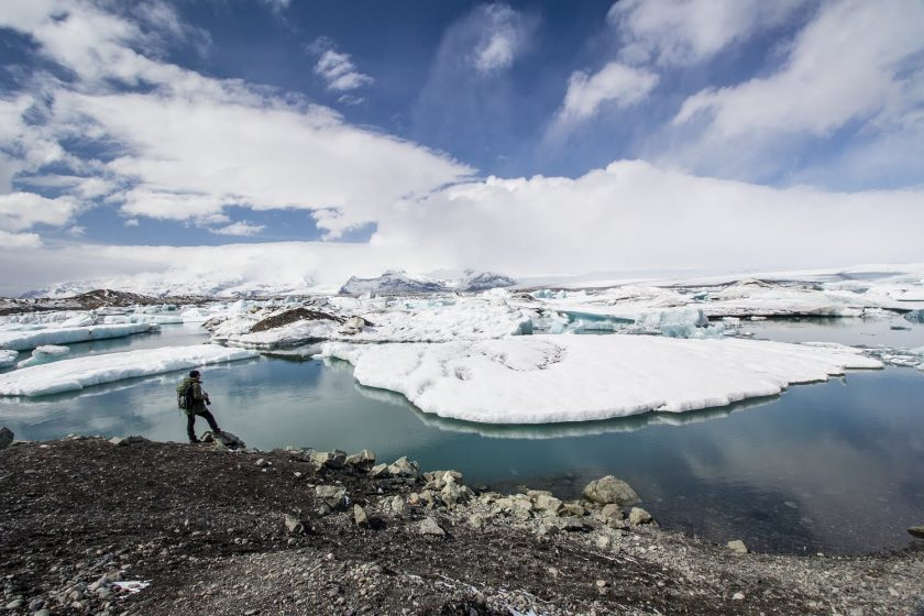 Ľadovec a ľadovcové jazero Fjallsárlón, Island