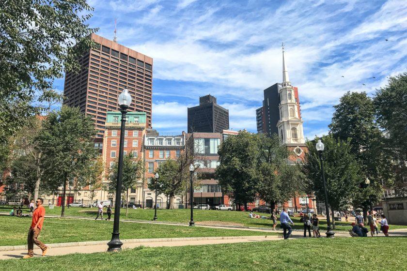 Mrakodrapy a park Boston Common